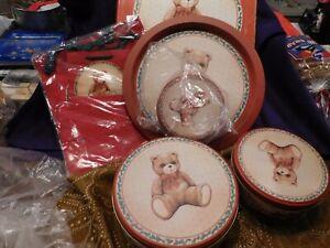 Christmas 3 Tins 1 Platter 3 Gift Bags Set House of Lloyd Toy Box Teddy Bear NEW