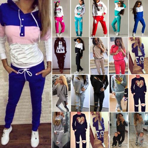 Women Tracksuit Hoodies Sweatshirt Pants Set Jogger Sport Wear Casual Sweat Suit