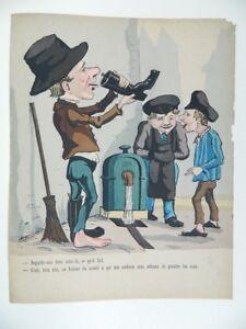 Incisione Humour a Colori A Stencil XIX Frisone Gustave Imp. Bernard C.