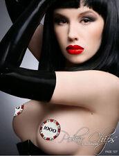 1000 Poker Chips Glitter Nipple Pasties Vegas Rhinestone Body Stickers Costume