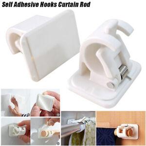 4PC Self Adhesive Hooks Curtain Rod Bracket Pole,Drapery Hook Holders Curtains