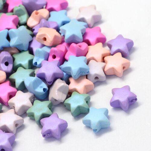 50pcs Star Perles En Acrylique 11x11.5x6mm couleurs vives colorés Loose Bead