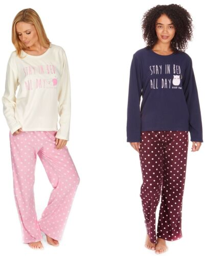 LADIES FLEECE PYJAMA SET STAY IN BED ALL DAY SMALL MEDIUM EXTRA LARGE LARGE