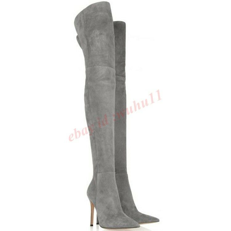 New Womens Pointed Toe Boot High Heel Stiletto Over Knee Thigh high Suede Boots