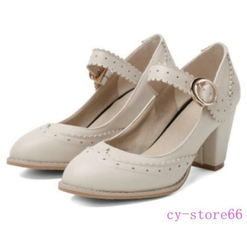 Details about  /Sweet Womens Lady Carved Mary Janes Block Heel Pumps Wedding Bridal Shoes Spring