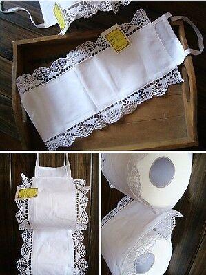 Elegant Hand Bobbin Lace White Cotton Toilet Roll Holder Organiser