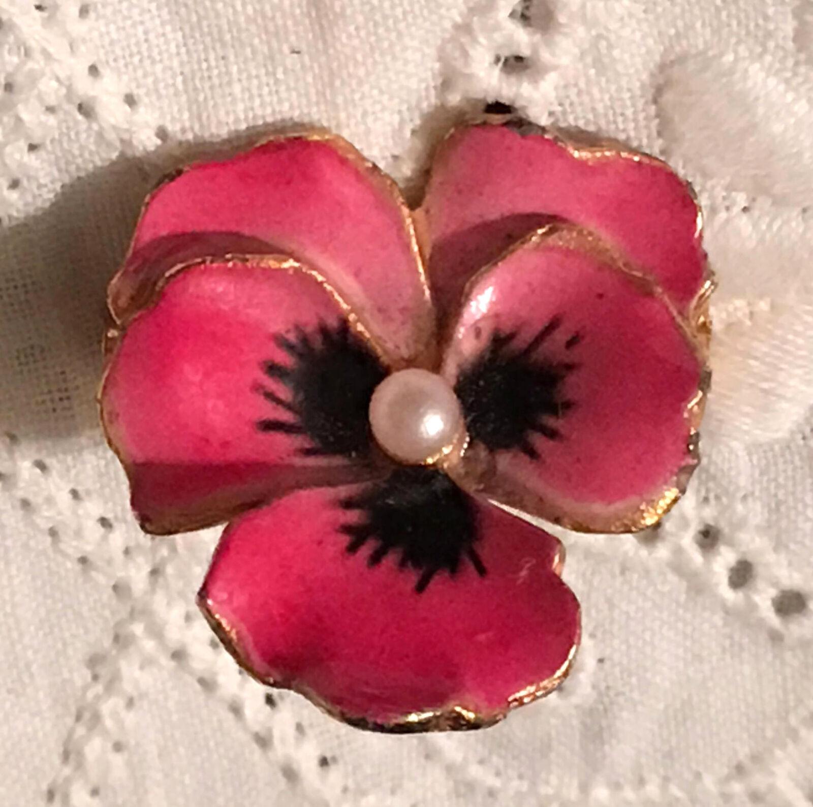 Vintage Pansy Brooch Enamel Gold White Violet Vio… - image 8