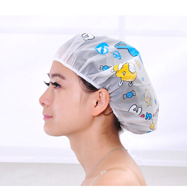 Cartoon Clear Hair Shower Caps Bath Spa Caps Elastic Waterproof Hats 3cR