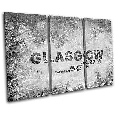 Glasgow Scotland City Typography TREBLE CANVAS WALL ART Picture Print VA