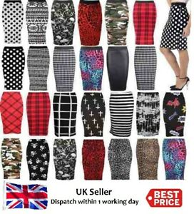 New-Ladies-Womens-Printed-Wiggle-Tube-Skirts-Pencil-office-Skirt-Plus-Size