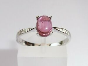 Ladies-925-Solid-Silver-Pink-Cabochon-Tourmaline-amp-White-Sapphire-Accents-Ring