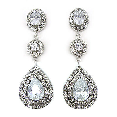 Luxury Twinkling 6.5cm Long Dangly Big Drip Use Austria Crystal CZ Earrings