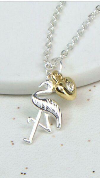 Pom Jewellery Silver Plated Flamingo And Golden Heart Necklase Gesundheit FöRdern Und Krankheiten Heilen