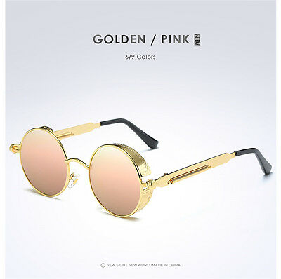 Retro Vintage Polarized Steampunk Sunglasses Round Mirrored Glasses Eyewear