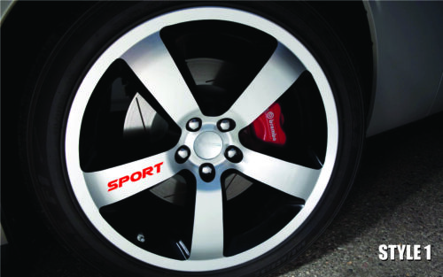 SPORT Car Truck Vinyl Sticker Decal Wheel Racing Rim Emblem Logo Set of 4
