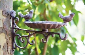 "GARDEN DECOR - ""SUMMER SONGBIRDS"" WALL MOUNTED BIRD FEEDER - CAST IRON"