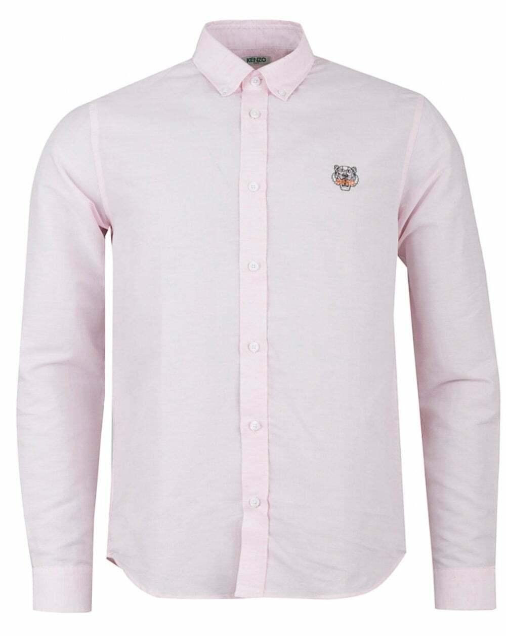 KENZO UOMO TIGRE Crest In Popeline Di Cotone Camicia rosa
