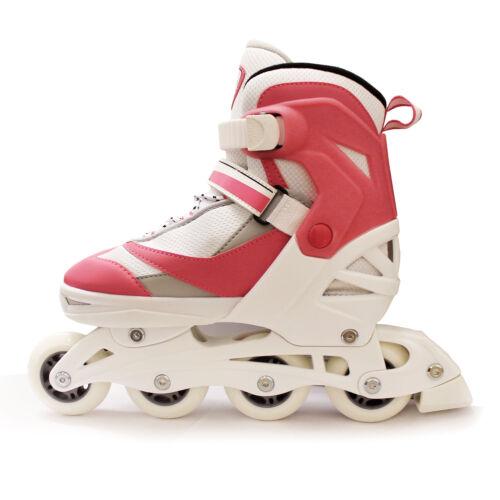 New California Pro Dallas Adjustable Junior Girls Inline Roller Skates Pink