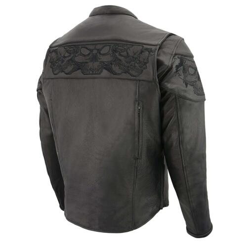 Arm /& Back Men/'s Reflective Skull Design Vented Scooter Jacket w// on the Front