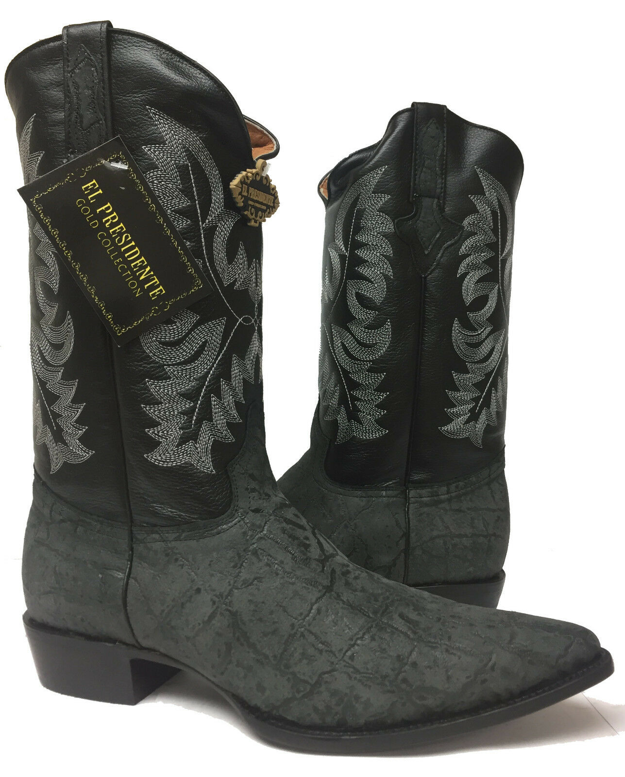 Mens Black Elephant Bull Print Leather Exotic Cowboy Western Rodeo Boots 12