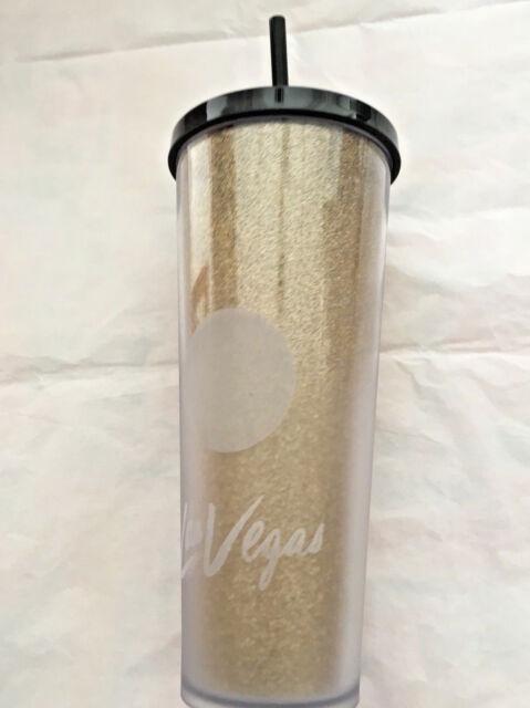 Starbucks LAS VEGAS, Nevada Venti To Go Cold Cup Gold Glitz Tumbler Traveler Mug