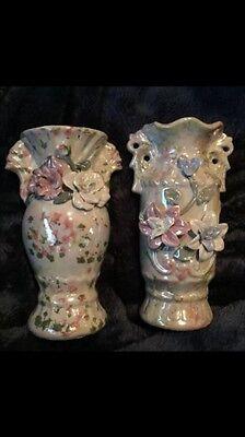 "Set Of Two 7"" Capodimonte Porcelain Pearl Tone Vases"