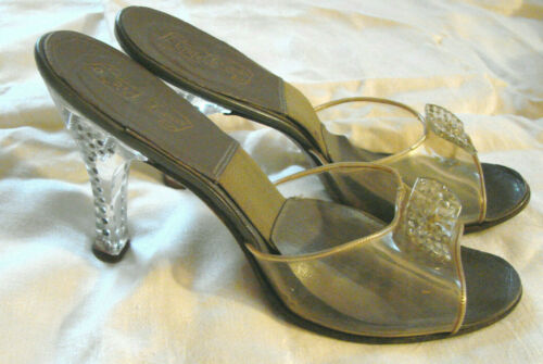 Vintage 50s Lucite Peep Toe Shoes Heels Rhinestone