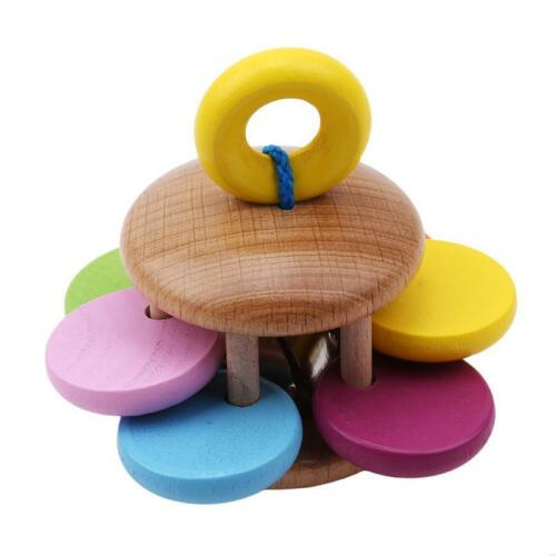 Rainbow Musical Instrument Baby Kid Toy Wooden Hand Jingle Ring Bell Rattle YW