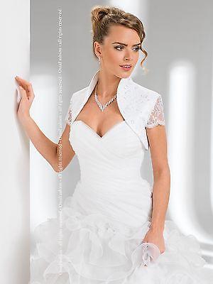 NEW WEDDING LACE AND SATIN SHRUG BRIDAL BOLERO/JACKET/COAT SHORT SLEEVE