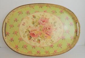 VTG-Romantic-Roses-Serving-Tray-Lattice-Plastic-Farmhouse-Chic-17-034-x-12-034-Barware