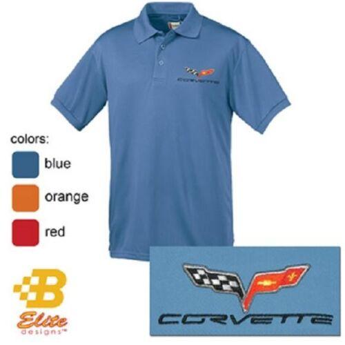C6 CORVETTE EMBROIDERED MEN/'S PERFORMANCE POLO SHIRT ORANGE WHITE BLUE BLACK RED
