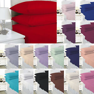 Flat-Sheet-Or-Pillowcases-Single-Double-King-Super-King-Poly-Cotton-All-Colours
