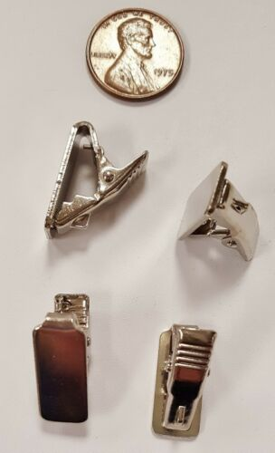 6 VINTAGE UNSET TIE CLIP RECTANGLE PAD SILVER PLATED METAL FINDINGS N590