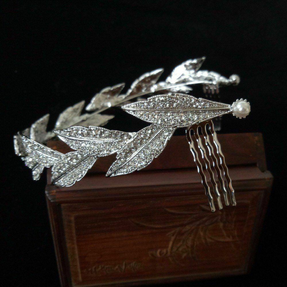 Fashion Beautiful Crown Rhinestone Vine Leaves Baroque Tiaras Bride Wedding Hair
