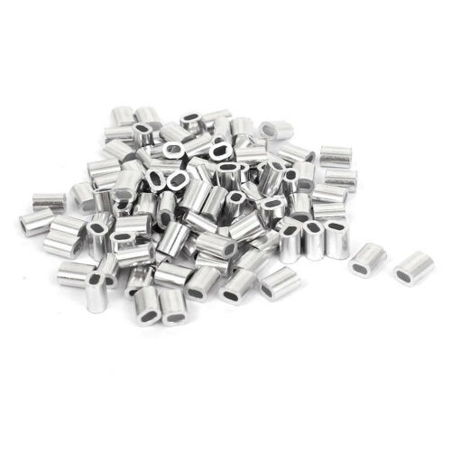 100 Pcs 1mm Steel Wire Rope Aluminum Ferrules Sleeves Silver Tone B6Z7