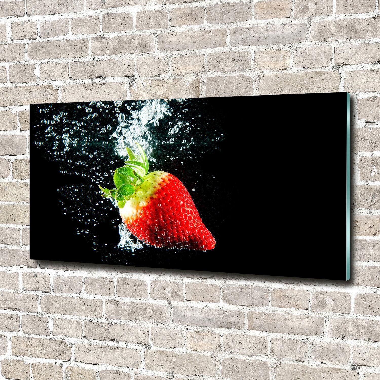 Acrylglas-Bild Wandbilder Druck 140x70 Deko Essen & Getränke Erdbeere Wasser