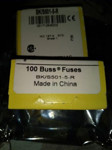 Ceramic 5A Qty 10 pcs BUSS FUSES-BK//S501-5-R 250V fast blow fuses 5x20mm