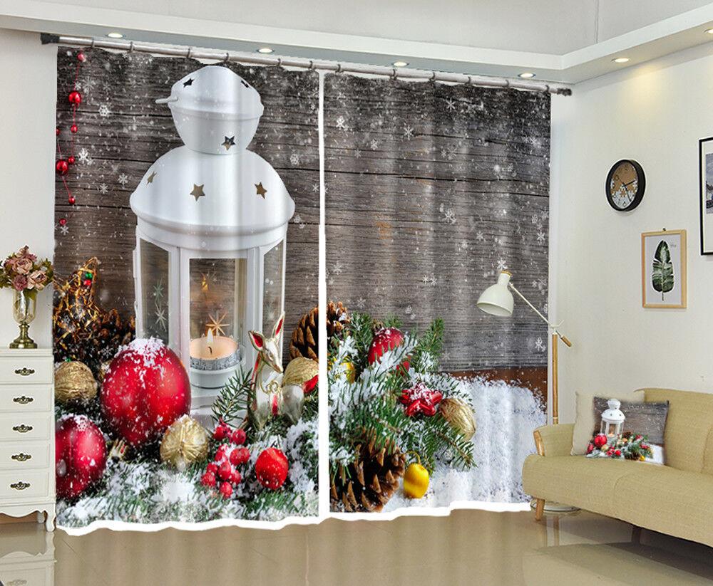3D navidad navidad Cortina de foto 192 Blockout Impresión Cortinas Ventana De Tela Reino Unido