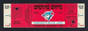 VINTAGE-MLB-1977-TORONTO-BLUE-JAYS-OPENING-DAY-BASEBALL-FULL-TICKET-FIRST-EVER