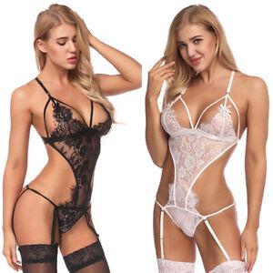 2de2fea7f178 Image is loading Women-039-s-Sexy-Lace-Babydoll-Dress-Bodysuit-