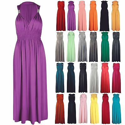 Womens Ladies Stretch Spring Coil Jersey Long Evening Maxi Dress Plus Size 6-22