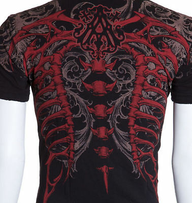 Archaic AFFLICTION Men T-Shirt Couture VERTEBRAE Tattoo Biker Xtreme S-4XL $40 a
