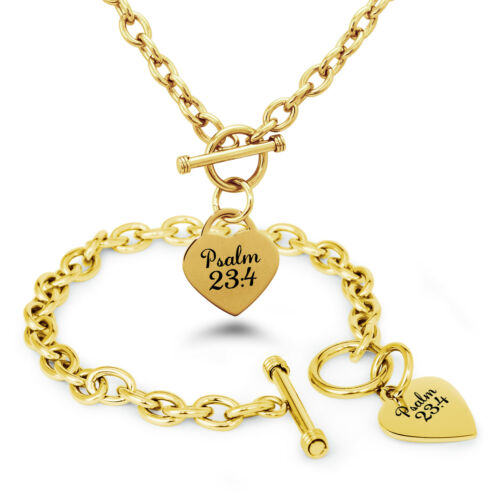 Necklace Stainless Steel Fear No Evil Psalm 23:4 Heart Tag Charm Bracelet Set