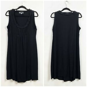 NY-Collection-XL-Womens-Black-Ruffle-Knit-Sleeveless-Shift-Dress