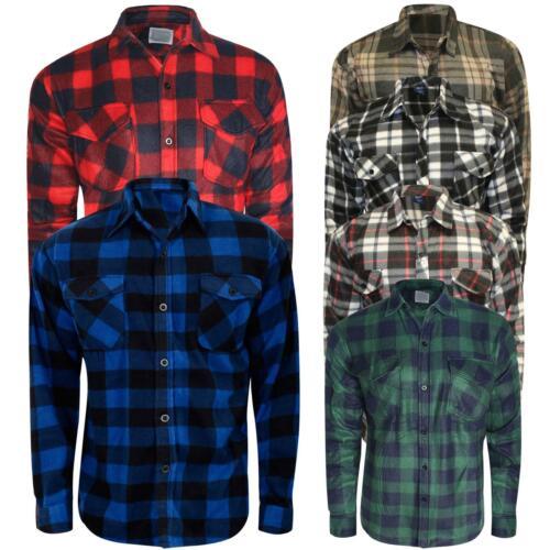 Men Thermal Brushed Fleece Lumberjack Shirt Check Casual Winter Warm Work M-XXXL