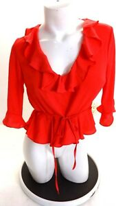 NWOT-TOPSHOP-WOMEN-039-S-CORAL-RED-CREPE-RUFFLED-BLOUSE-SIZE-6-US