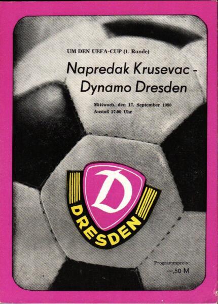 100% Vero Ec Iii 80/81 Sg Dinamo Dresden - Napredak Krusevac, 17.09.1980
