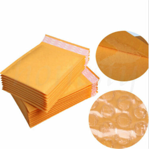 5-30pcs Yellow Kraft Bubble Mailers Padded Envelopes Shipping Bags Self Seal