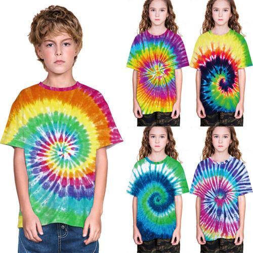 Children Boys Tie Dye Crew Neck T Shirts Toddler Loose Summer Festival Tee Top
