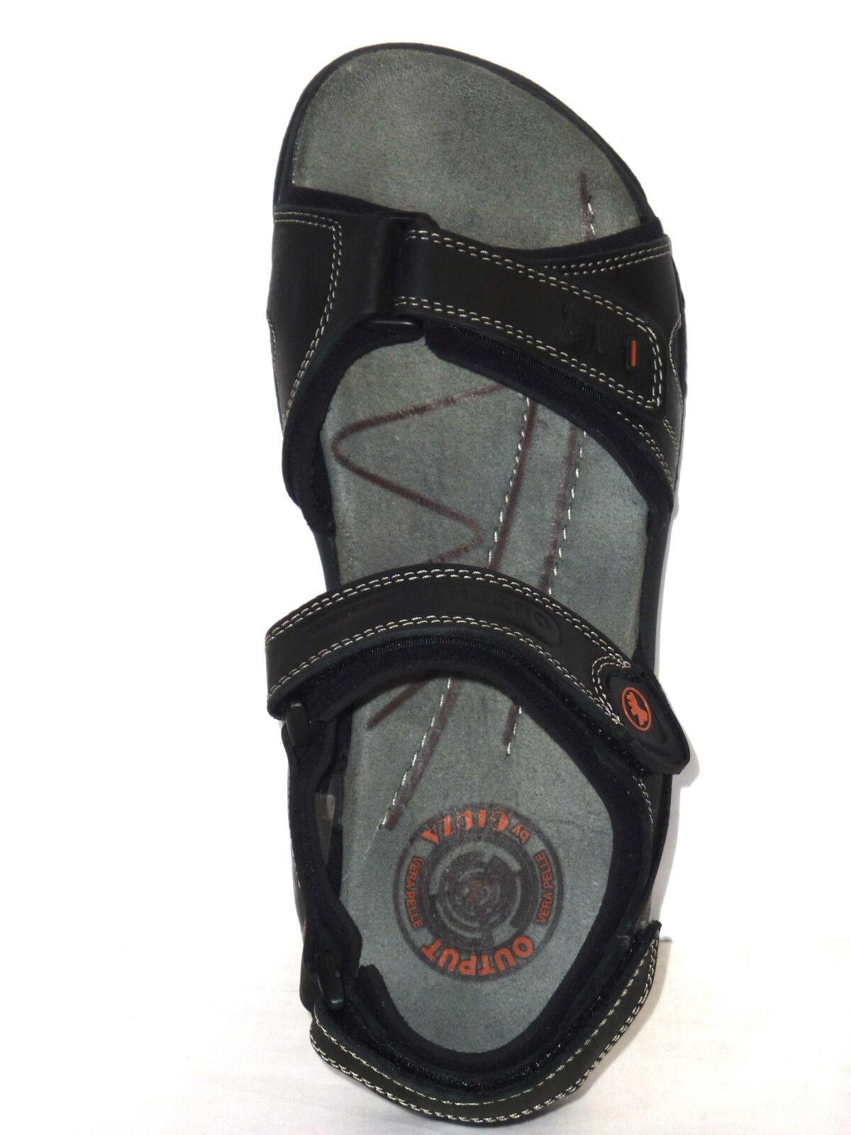 Herren Sandalen Einstellungen schwarzes Leder mit drei Einstellungen Sandalen reißen Fußbett n.44 1e5d84